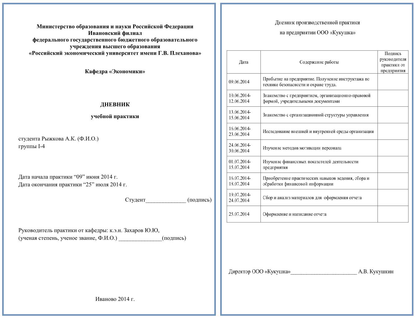 Образец отчета по практике студента примеры и пояснения дневник практики пример заполнения